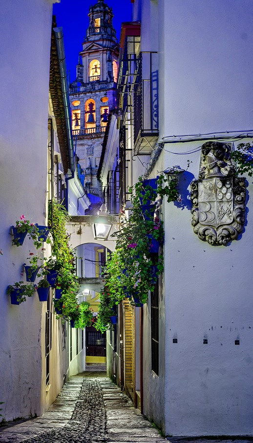 Dusk-in-Street-of-flowers-Cordoba-Spain