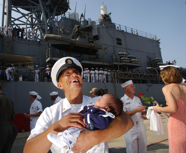EMC Alex Yano meets his 4-week-old daughter, Chase.
