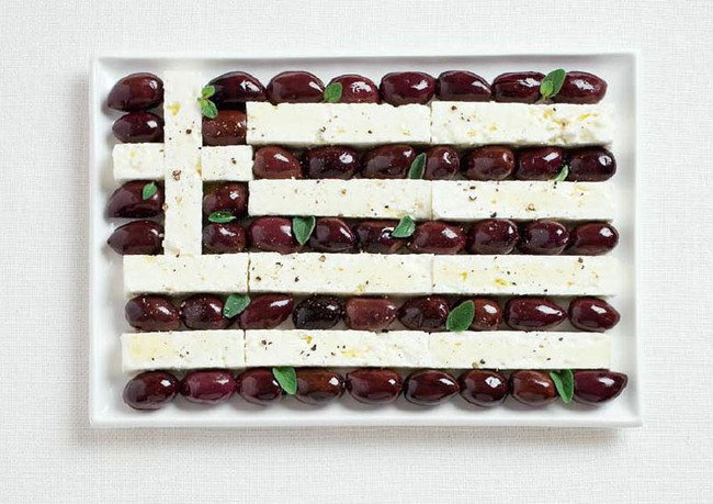 greece Feta cheese and olives.