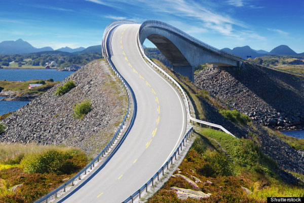 Picturesque Norway sea landscape with bridge. Atlanterhavsvegen; Shutterstock ID 103419545; PO: aol; Job: production; Client: drone