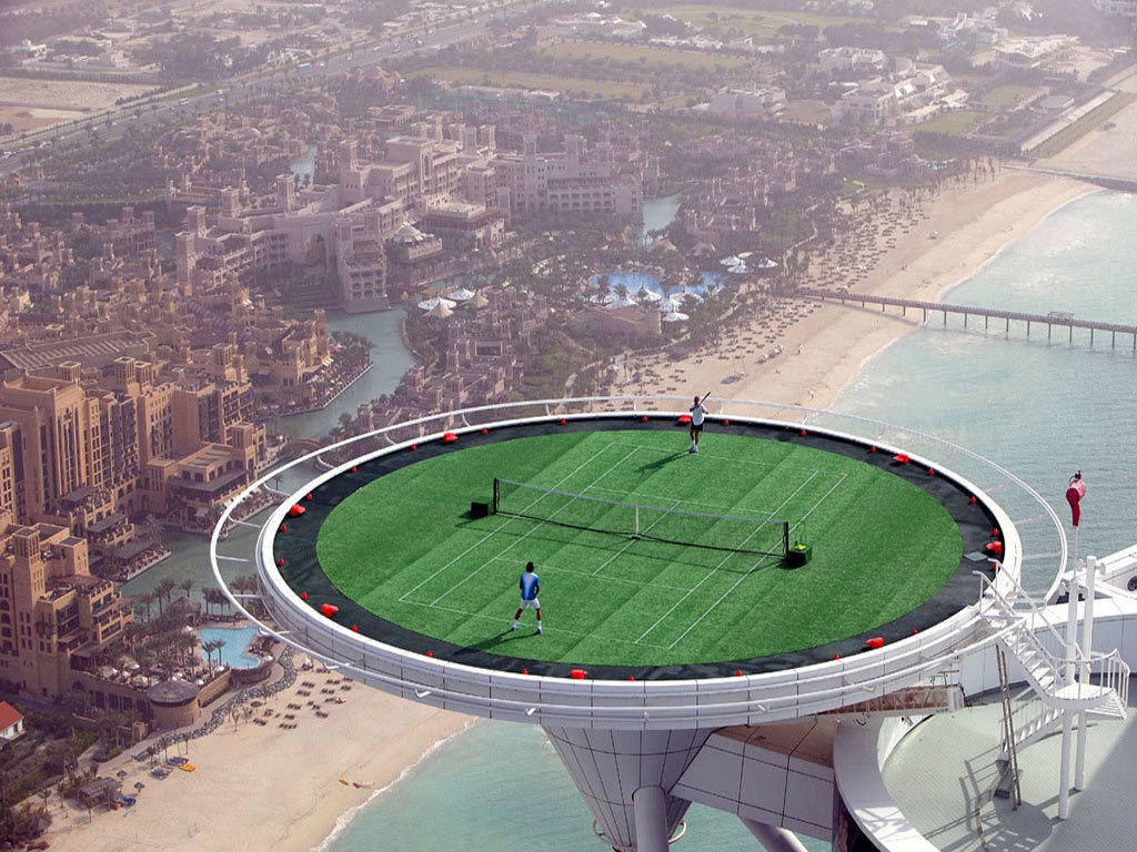 A tennis court on top of a Dubai tower.