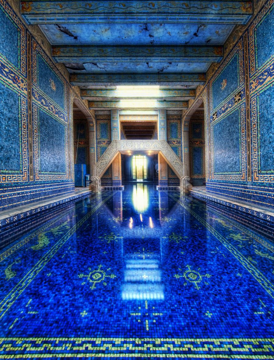 The Azure Blue Indoor Pool at the eery and legendary Hearst Castle in California.