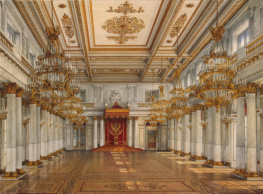 The Great Throne Room of the Winter Palace, located in St Petersburg, Russia.