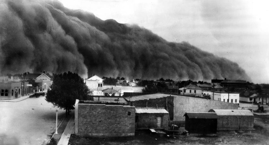 1937: Original caption: This black roller dust storm is rushing toward Clayton, New Mexico. It was one of worst everto strike that portion of southwestern dust bowl. A moment after this picture was taken the city was in darkness. The storm lasted several hours and was followed by rain. The interiors of houses were coated with dust and the outsides with mud. This picture was taken by an amateur photographer who happened to see the storm coming. This photo was published in the May 29, 1937 Los Angeles Times.