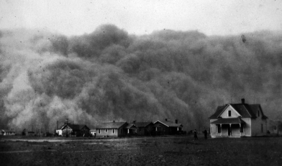In this April 18, 1935, file photo provided by the National Oceanic & Atmospheric Administration from the George E. Marsh Album, a dust storm approaches Stratford, Texas.  (AP Photo/NOAA George E. Marsh Album, File)