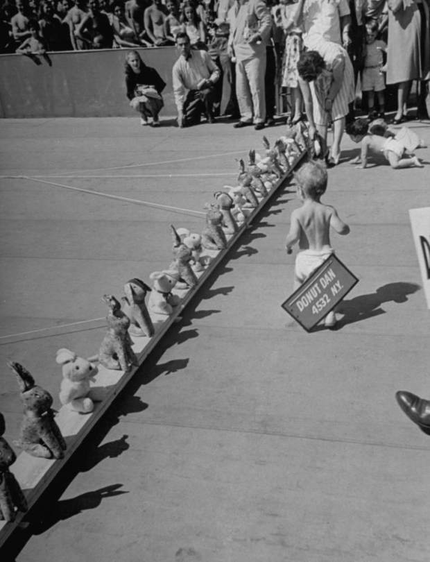 July 1946: Babies crawling toward a mobile row of stuffed rabbits during the 8th annual Diaper Service Derby sponsored by the National Institute of Diaper Services. (Photo by Cornell Capa/Time & Life Pictures/Getty Images)
