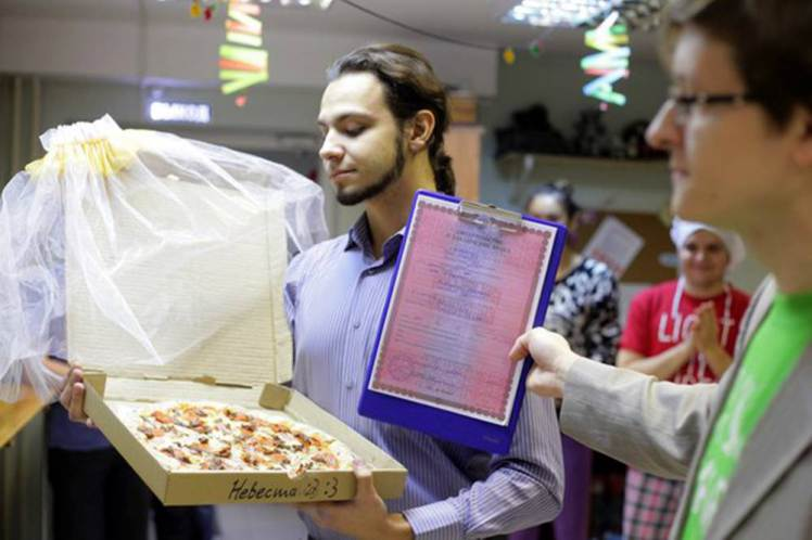 "Pic shows: 22-year-old Russian marries a pizza.nnA lonely Russian gourmet fed up of not having a better half has married a pizza.nnThe bizarre wedding ceremony took place in a pizzeria in the city of Tomsk, in the Tomsk Oblast region that is located in south-central Russia.nnThe man who was not named said he came up with the idea because she was fed up of being alone.nnHe said: ""At some point I realized that half of my friends are complaining about their better half, while the others were complaining about the lack of a better half.""nn""Love between two humans is a complicated wild thing. I was grateful that I had at least my love of food and then it came to me that actually love for food remains stable no matter what.""nn""Pizza would not reject you or betray you, and speaking quite frankly and sincerely, I love it.""nnSceptical Russian authorities refused to give official permission to register the unusual marriage at a registry office, and the church also turned him down.nnSo in the end the unusual ceremony went ahead in one of the city¿s pizzerias. Managers and cooks at the restaurant even went as far as to provide the man with a certificate of marriage, and the pizza bride was covered in a bridal veil.nnAfter that the happy groom posed in front of many cameras with his ""wife"". Details of what they did on their honeymoon night together were not revealed.nn(ends)"