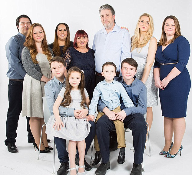 L-R, Oliver 21, Kitty 18, Florence 23, Ann (mum) 51, William 51, Matilde 19, Livvy 27, Front Row, Louis 13, Bessie 7, John Boy 5 & Malachy 15 - The Whole Family - Supermum Feature