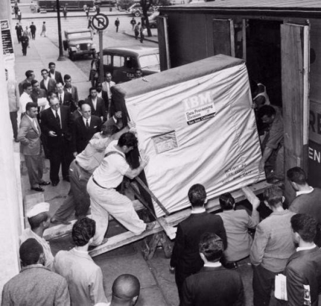 A five-megabyte hard drive is shipped by IBM, 1956.