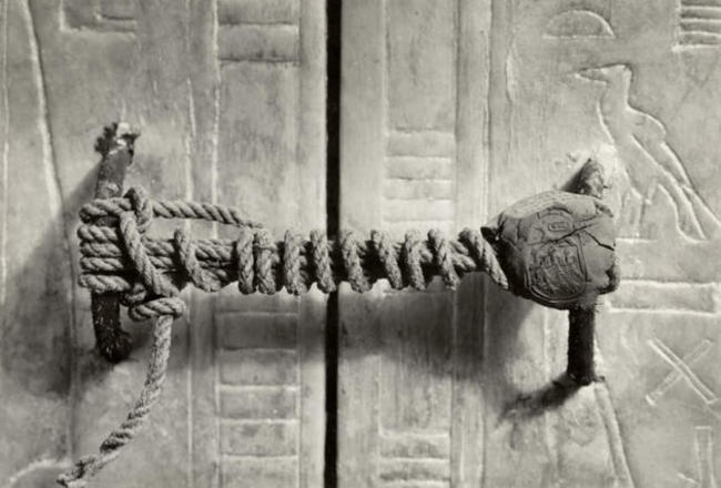 The seal on the doors of the tomb of Tutankhamen, 1922. It had remained intact for an incredible 3,245 years.