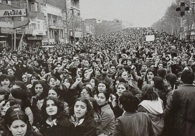 Women protest agains the forced wearing of the hijab in Iran after the Islamic Revolution, 1979.