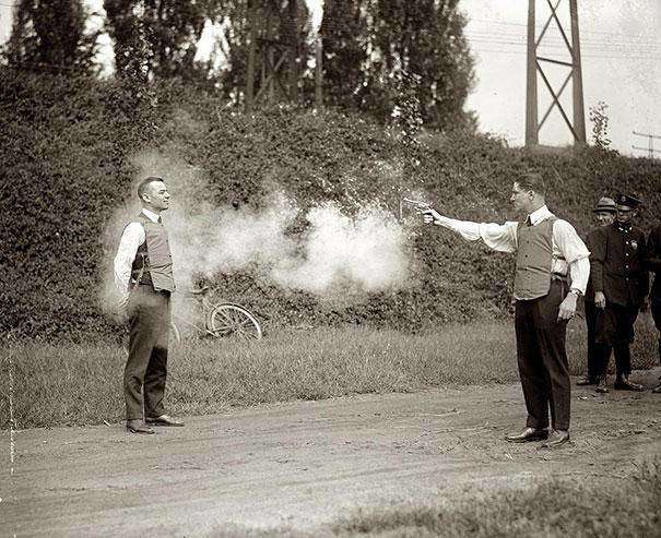 1923: An new version of the bullet-proof vest is tested.