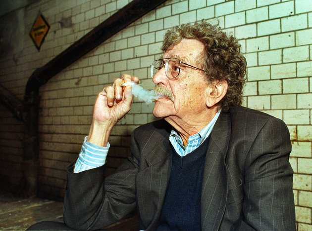 "US writer Kurt Vonnegut visits a former air-raid shelter, where he went during the World War II bomb attack on Dresden as prisoner of war in February 1945 in the east German town Dresden, Wednesday, October 7, 1998. Vonnegut's novel ""Slaughterhouse 5"" dramatizes his experiences as P.O.W. in Dresden. Vonnegut visited the air-raid shelter Wednesday for the first time since WW II. (AP Photo/Matthias Rietschel)"