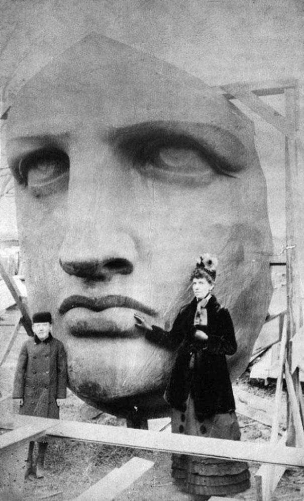 885: The Statue of Liberty's head is unpacked following its delivery to New York.