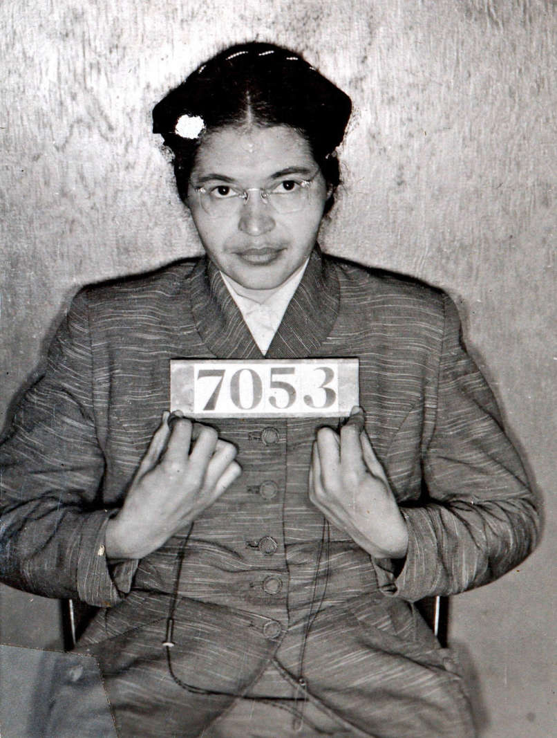 A mugshot of Rosa Parks from February 22nd, 1956 following her refusal to relinquish her bus seat to a white person.