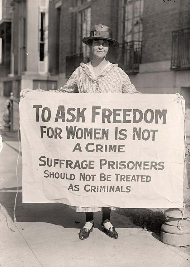 A woman suffrage activist protesting after 'The Night of Terror.' [1917]
