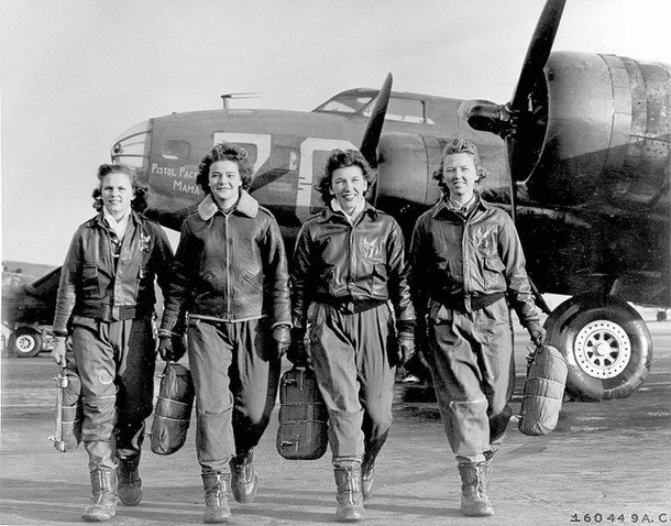 "Female pilots leaving their B-17, ""Pistol Packin' Mama"" [c. 1941 - 1945]"