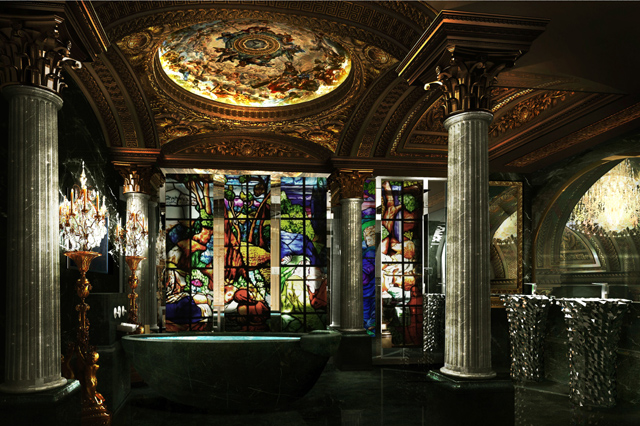 Stained-Glass+and+Marble+Bathroom