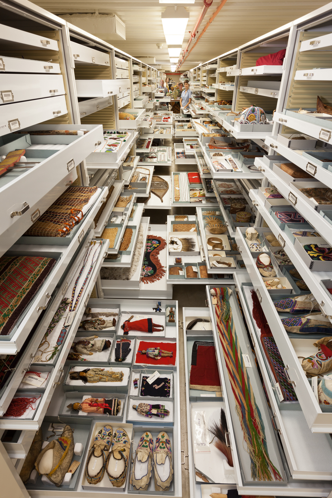 Anthropological collections are displayed in Pod 1 at the Smithsonian Institution's Museum Support Center in Suitland, Maryland.