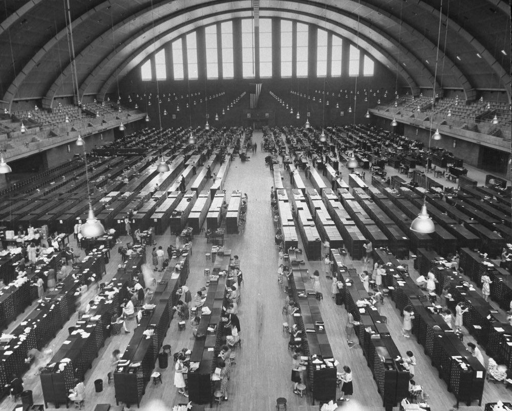 Files of the Federal Bureau of Investigation being set up on floor of armory. (Photo by Wallace Kirkland/The LIFE Picture Collection/Getty Images)