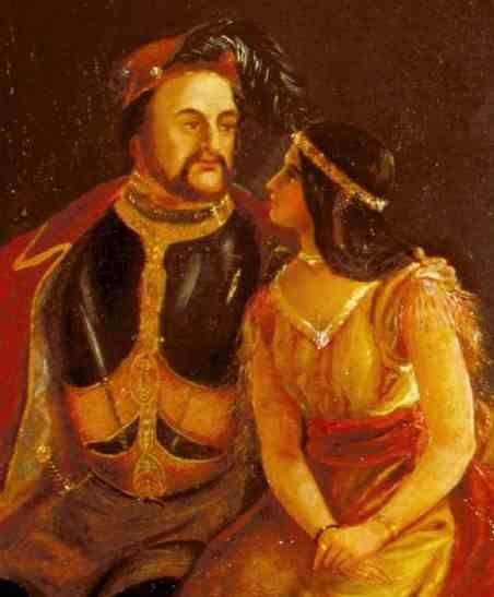 1850 painting of Rolfe and Pocahontas