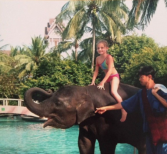 *** COLLECT IMAGE = NO SYNDICATION - NO LIBRARY *** Amber Owen on Ning Nong the four year old elephant. Image taken in Phuket, Thailand in December 2004 just before the Boxing Day tsunami. Credit Owen family picture Image via Sam Miles - Alpha Contracts Leasing Ltd