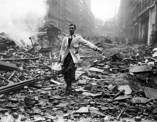 A milkman delivery through the rubble in 1940s London.