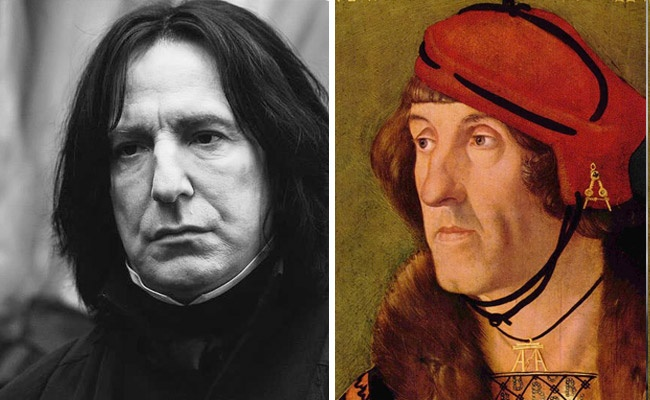 Alan Rickman and 'Portrait of Count Ludwig von Lowenstein' by Hans Baldung