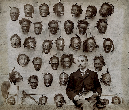 Major General Horatio Gordon Robley with his collection of tattooed Maori heads in 1895.