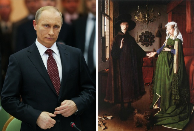 Vladimir Putin and depicted in 'The Arnolfini Portrait' by Jan van Eyck