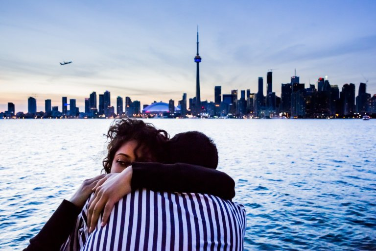 Two lovers at sunset in Toronto.