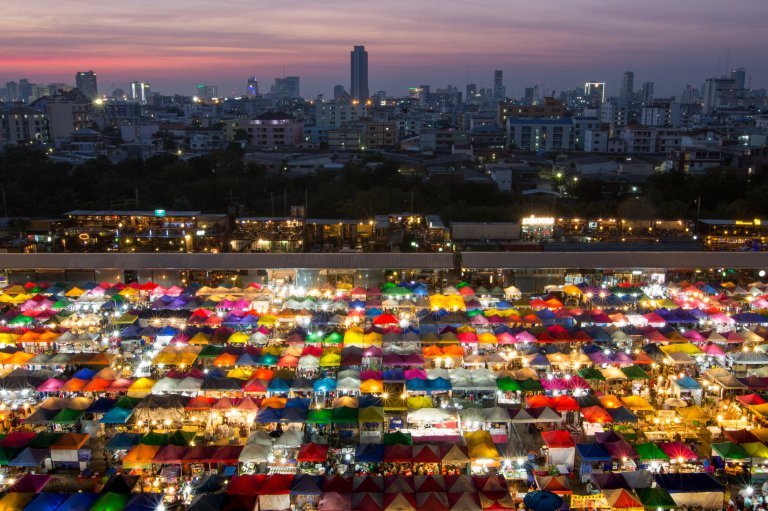 Colorful market in Bangkok city, Thailand.