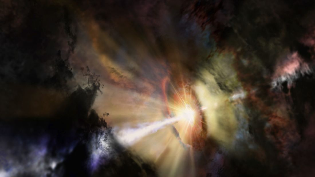 Deep in the heart of the Abell 2597 Brightest Cluster Galaxy, astronomers see a small cluster of giant gas clouds raining in on the central black hole. They were revealed by the billion light-year-long shadows they cast toward Earth. These ALMA data present the first observational evidence for predicted chaotic cold accretion onto a supermassive black hole.