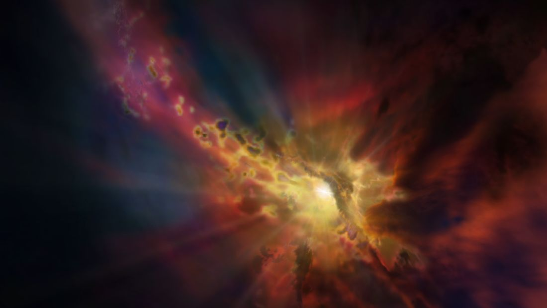 The cosmic weather report, as illustrated in this artist's concept, calls for condensing clouds of cold molecular gas around the Abell 2597 Brightest Cluster Galaxy. The clouds condense out of the hot, ionised gas that suffuses the space between the galaxies in this cluster. New ALMA data show that these clouds are raining in on the galaxy, plunging toward the supermassive black hole at its centre.