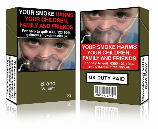 "An undated handout image released by Action on Smoking and Health (UK) (ASH (UK)) in London on May 19, 2016 shows a mock-up design of a standardised cigarette pack. This image is fully compliant with both the EU Tobacco Products Directive and the UK standardised tobacco packaging regulations. Tobacco giants have lost a legal challenge in London against imposing new rules for standardised packaging due to come into force on Friday, meaning Britain will join a growing list of countries to do so. / AFP PHOTO / ASH (UK) / Handout / RESTRICTED TO EDITORIAL USE - MANDATORY CREDIT ""AFP PHOTO / ASH (UK) / HANDOUT"" - NO MARKETING NO ADVERTISING CAMPAIGNS - DISTRIBUTED AS A SERVICE TO CLIENTS HANDOUT/AFP/Getty Images"