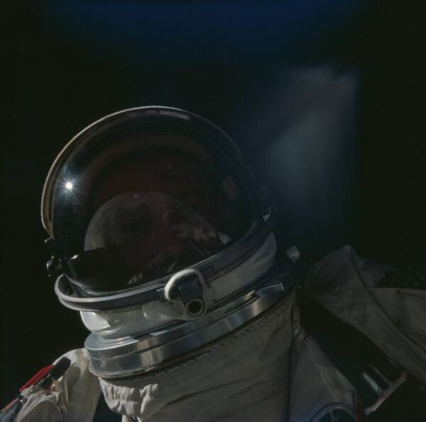 Buzz Aldrin taking a space selfie. 1966.