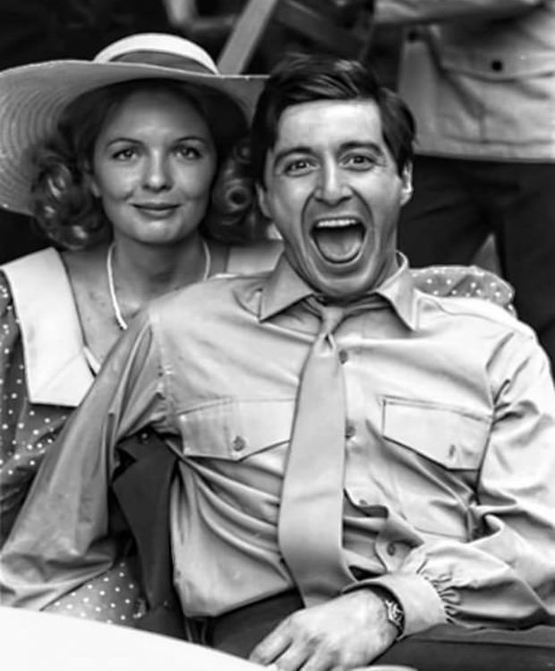 Diane Keaton and Al Pacino on The Godfather set, 1972.