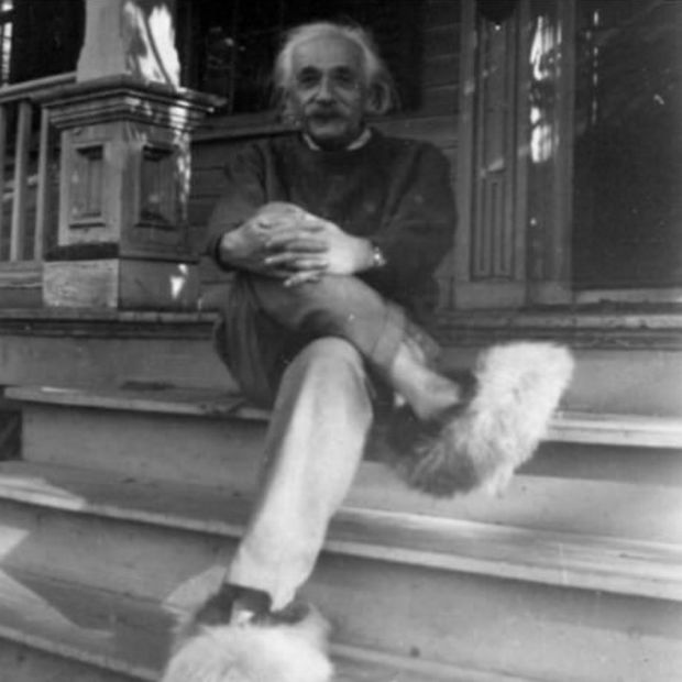 Einstein and his rather furry shoes