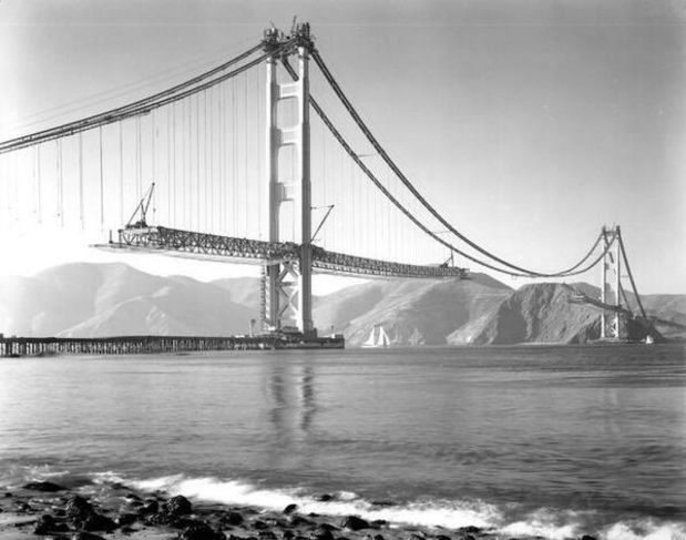 Golden Gate bridge under construction, San Francisco. 1937