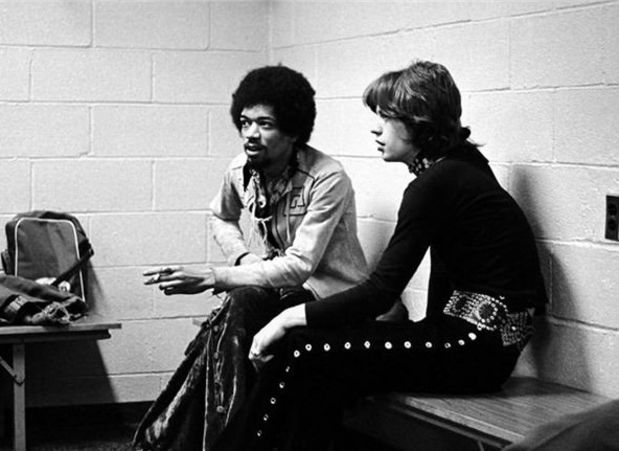 Jimi Hendrix and Mick Jagger. 1969.