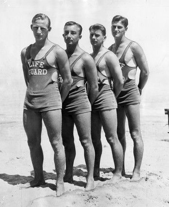 ..OUTSIDE TRIBUNE CO.- NO MAGS, NO SALES, NO INTERNET, NO TV, CHICAGO OUT.. captions for beach photos: 22) Chicago lifeguards in 1933. Tribune archive photo. 00295670A CHICAGO BEACHES