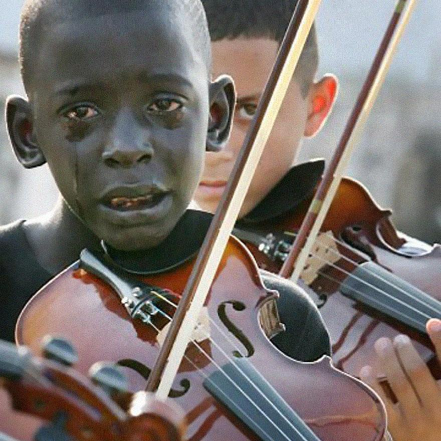e violin at his teacher's funeral. The tcape poverty