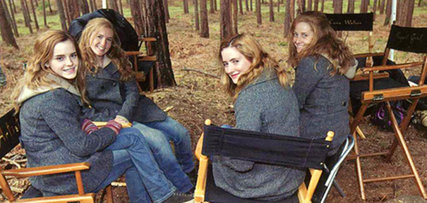 Emma Watson With Her Stunt Doubles On The Set Of Harry Potter
