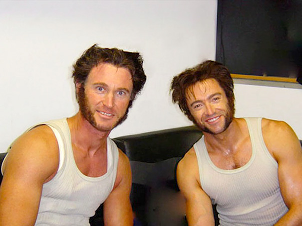 Hugh Jackman And His Stunt Double Rin The Set Of X-Men