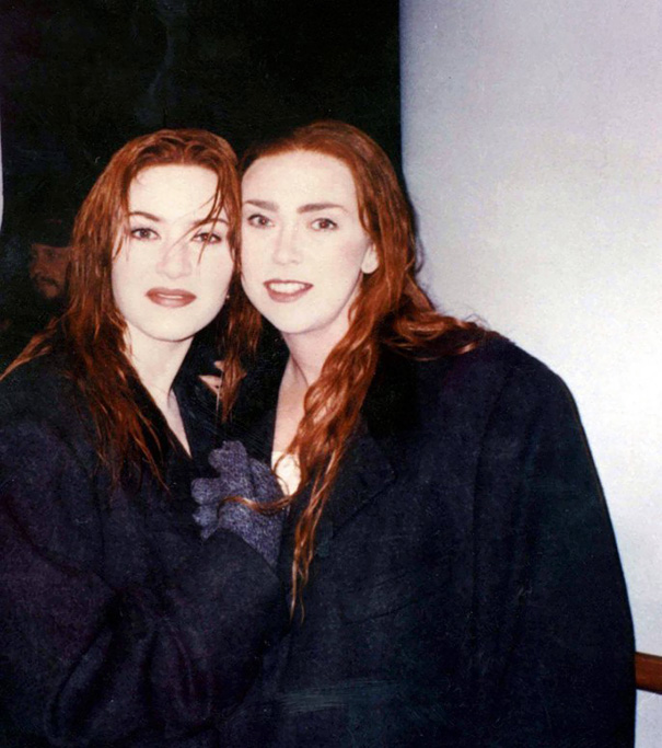 Kate Winslet With Her Stunt Double Sarah Franzl On
