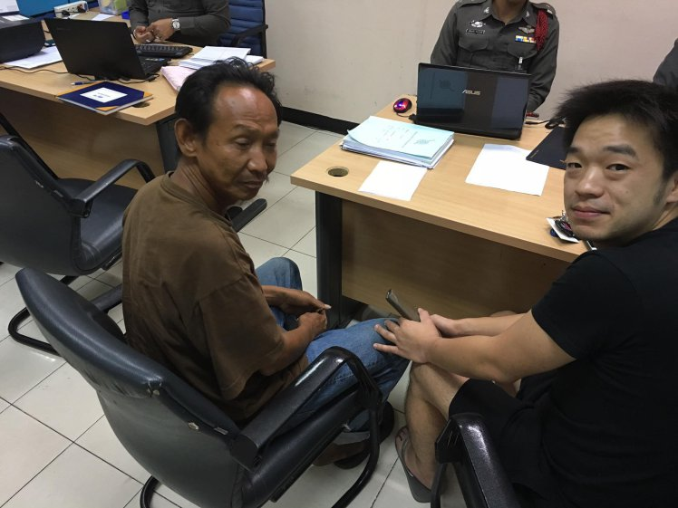 See SWNS story SWHOME; A homeless man who handed in a designer wallet full of cash was rewarded with a JOB and a new FLAT to live in. Good-hearted Woralop (corr), 45, had just nine baht (0.20p) to his name when he spotted the Hermes wallet with 20,000baht (£440gbp) and credit cards on the street earlier this month. Despite having barely eaten, he trudged to the local police station and gave police the expensive brown leather wallet with all the money still inside. Owner Niity Pongkriangyos, 30, was so thrilled when cops tracked him down that he offered destitute Woralop, who has no surname, a job at his metalwork factory in Bangkok, Thailand.