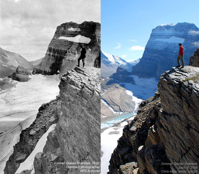 1920 and 2008: Grinnell Glacier Overlook in Montana.
