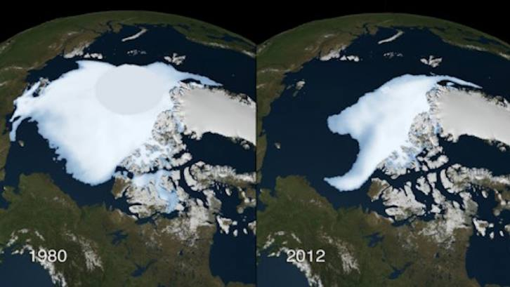 Arctic ice, 1980 and 2012