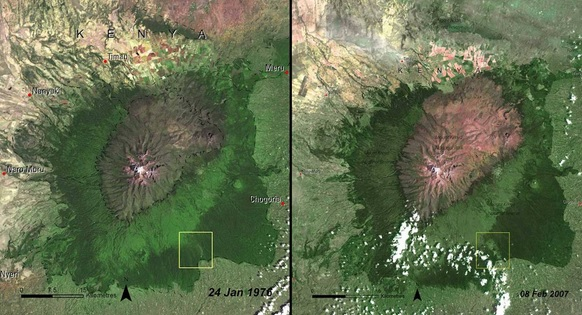 Deforestation of Mount Kenya Forest, Kenya, 1976 and 2007