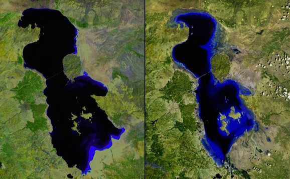 Shrinking Lake Urmia, Iran, July 2000 and June 2013